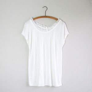 LOFT white ruffle neck tie back knit top